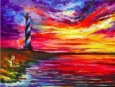 Lighthouse - Palette Knife Oil Painting On Canvas By Leonid Afremov Original by Leonid Afremov
