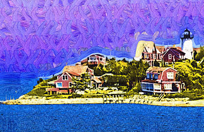 New England Lighthouse Painting - Lighthouse Point by Kirt Tisdale