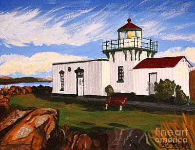 Steer Painting - Lighthouse Point No Point by Vicki Maheu
