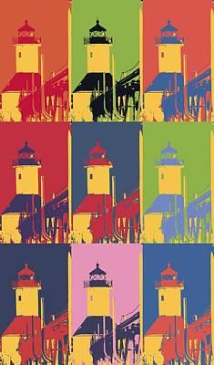 Lake Michigan Mixed Media - Lighthouse Pop Art by Dan Sproul