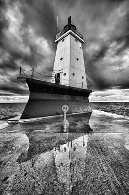 Lighthouse Reflection Black And White Print by Sebastian Musial