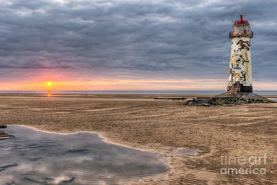 Estuary Photograph - Lighthouse Sunset by Adrian Evans