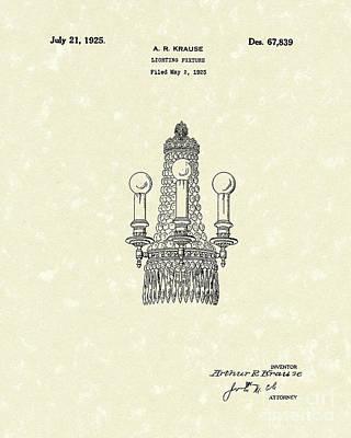Lighting Fixture 1925 Patent Art Print by Prior Art Design