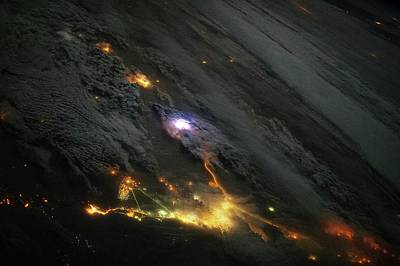 Satellite Image Photograph - Lightning And City Lights by Nasa
