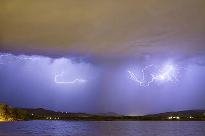 Lightning And Rain Over Rocky Mountain Foothills Print by James BO  Insogna