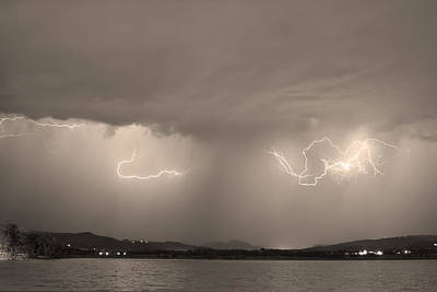 Lightning And Sepia Rain Over Rocky Mountain Foothills Print by James BO  Insogna