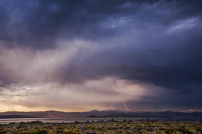 Lightning At Mono Lake Print by Cat Connor