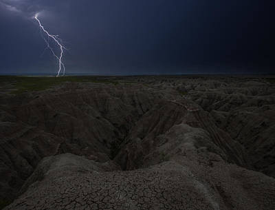 Badlands Photograph - Lightning Crashes by Aaron J Groen