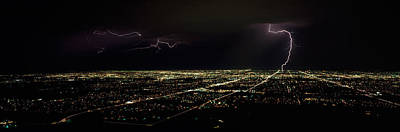 Lightning In The Sky Over A City Print by Panoramic Images