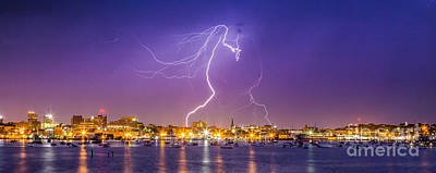 Images Lightning Photograph - Lightning Over Downtown Portland Maine by Benjamin Williamson