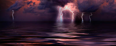 Lightning Over The Sea Print by Panoramic Images