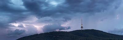 Lightning Photograph - Lightning Streaks Behind Telstra Tower by Glenn Martin
