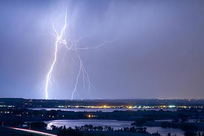 Lightning Strike Boulder Reservoir And Coot Lake Print by James BO  Insogna