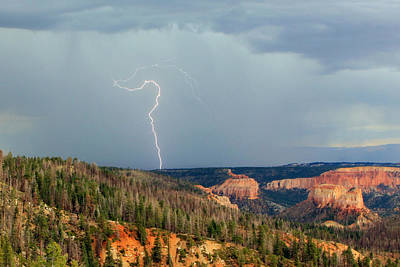 Lightning Strike In Bryce Canyon. Print by Johnny Adolphson