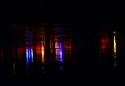 Lights On The River Reflection Print by Susan Garren