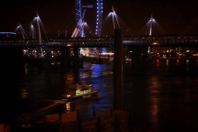 London Eye Mixed Media - Lights Over London by Doc Braham