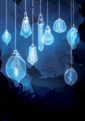 Bulb Digital Art - Lights by Randoms Print