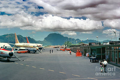 Fixed Wing Multi Engine Photograph - Lihue Airport With Cumulus Clouds In Kauai Hawaii  by Wernher Krutein