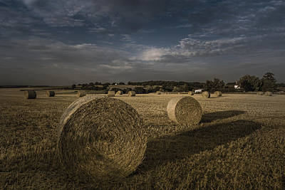 Haybales Photograph - Like A Moonlight Shadow by Chris Fletcher