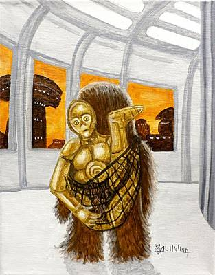 Chewbacca Painting - Lil Chewie Helps C3po by Al  Molina