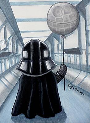 Comic Book Painting - Lil Vader Dreams Big by Al  Molina
