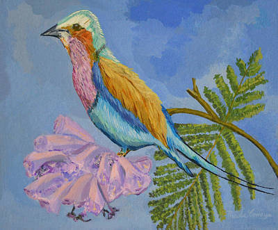 Lilac Breasted Roller Bird 1 Print by Thecla Correya