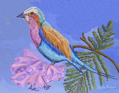 Jacaranda Tree Painting - Lilac Breasted Roller Bird by Thecla Correya