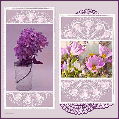 Collage Photograph - Lilacs And Cosmos Photo Picture Collage  by Sandra Foster