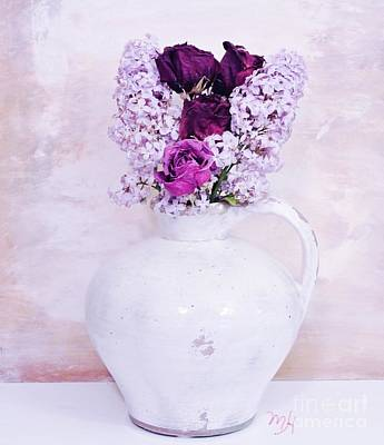 Pottery Digital Art - Lilacs And Roses by Marsha Heiken