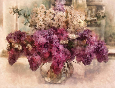 Floral Digital Art Digital Art Digital Art - Lilacs In The Parlor by Bernie  Lee