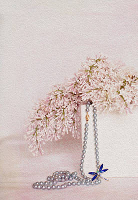 Lilacs Pearls And A Bit Of Sparkle Print by Rebecca Cozart