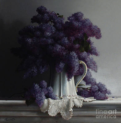 Pitcher Painting - Lilacs Study No.2 2011 by Larry Preston