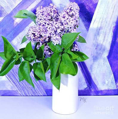 Wrap Digital Art - Lilacs With Abstract by Marsha Heiken