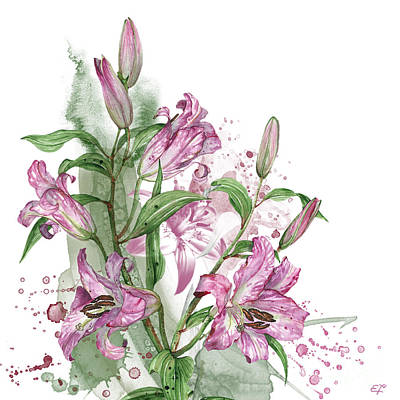 Painting - Lilies -03- Elena Yakubovich by Elena YakLilysubovich