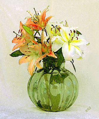 Stargazer Lilies Photograph - Lilies In Vase by Ben and Raisa Gertsberg
