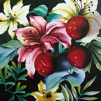 Lillies And Plums Print by Marina Petro