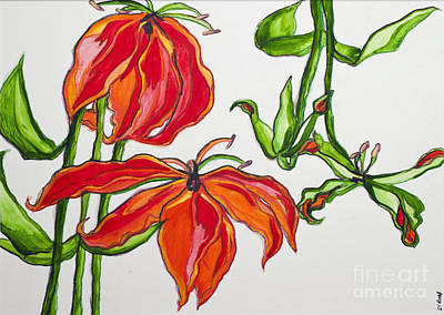 Lilies In Orange Print by Becca Lynn Weeks