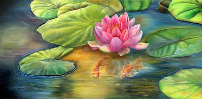 Fish Painting - Lilly Pond by Kathy Brecheisen