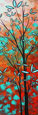 Lilly Pulitzer Inspired Abstract Art Colorful Original Painting Spring Blossoms By Madart Print by Megan Duncanson