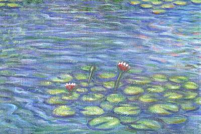 Lake Painting - Lily Pads Two by Linda Mears