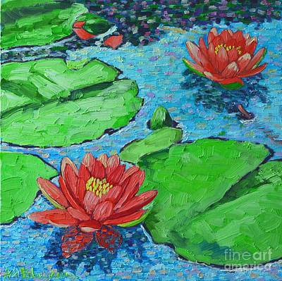 Lotus Leaves Painting - Lily Pond Impression by Ana Maria Edulescu