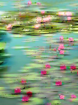 Lilies Digital Art - Lily Pond Impressions by Jessica Jenney