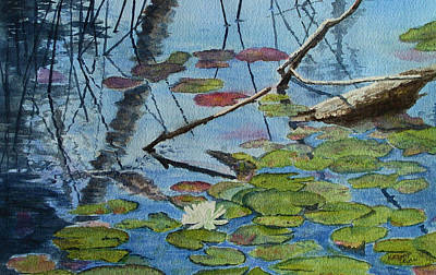 Landscape Painting - Lily Pond by Kathy Dolan