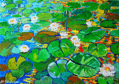 Lotus Leaves Painting - Lily Pond Reflections by Ana Maria Edulescu