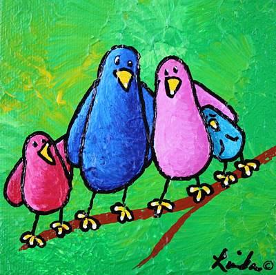 Yellow Beak Painting - Limb Birds - One Of Each by Linda Eversole