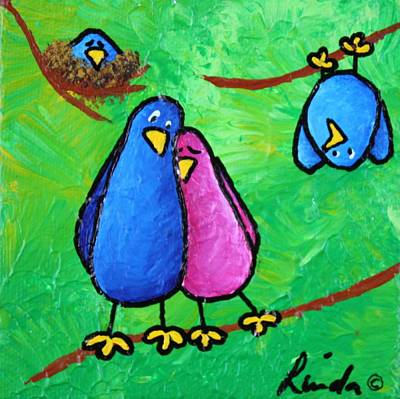 Limb Birds - Outnumbered Print by Linda Eversole