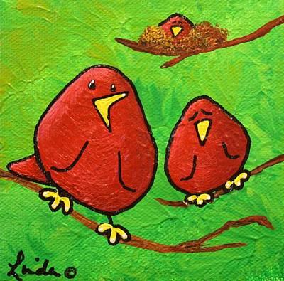 Limb Birds - Red Overhead Print by Linda Eversole