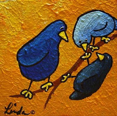 Yellow Beak Painting - Limbbirds - Comin Up by Linda Eversole