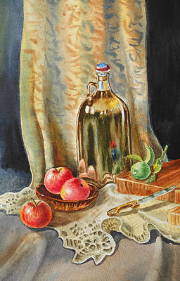 Glass Table Reflection Painting - Lime And Apples Still Life by Irina Sztukowski