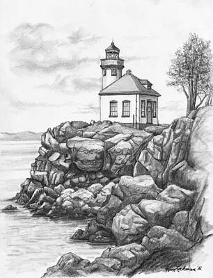 Lime Drawing - Lime Kiln Lighthouse by Kim Lockman